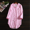 2017 Primavera Marca Mulheres Sleepshirts Sleepwear Camisolões Senhoras Nightdress homewear de Algodão macio Do Sexo Feminino Casual Xadrez Camisola