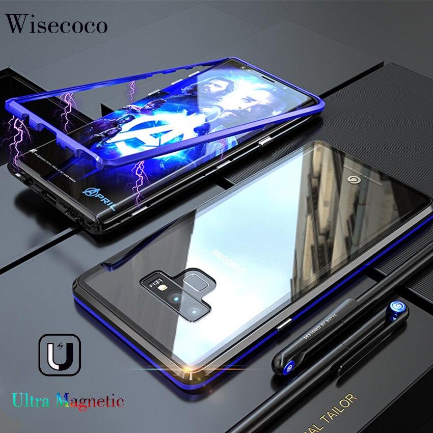 Anti choque magnético metal caso de telefone para samsung galaxy note 9 8 s10 s9 s8 plus + luxo ultra ímã vidro temperado capa traseira