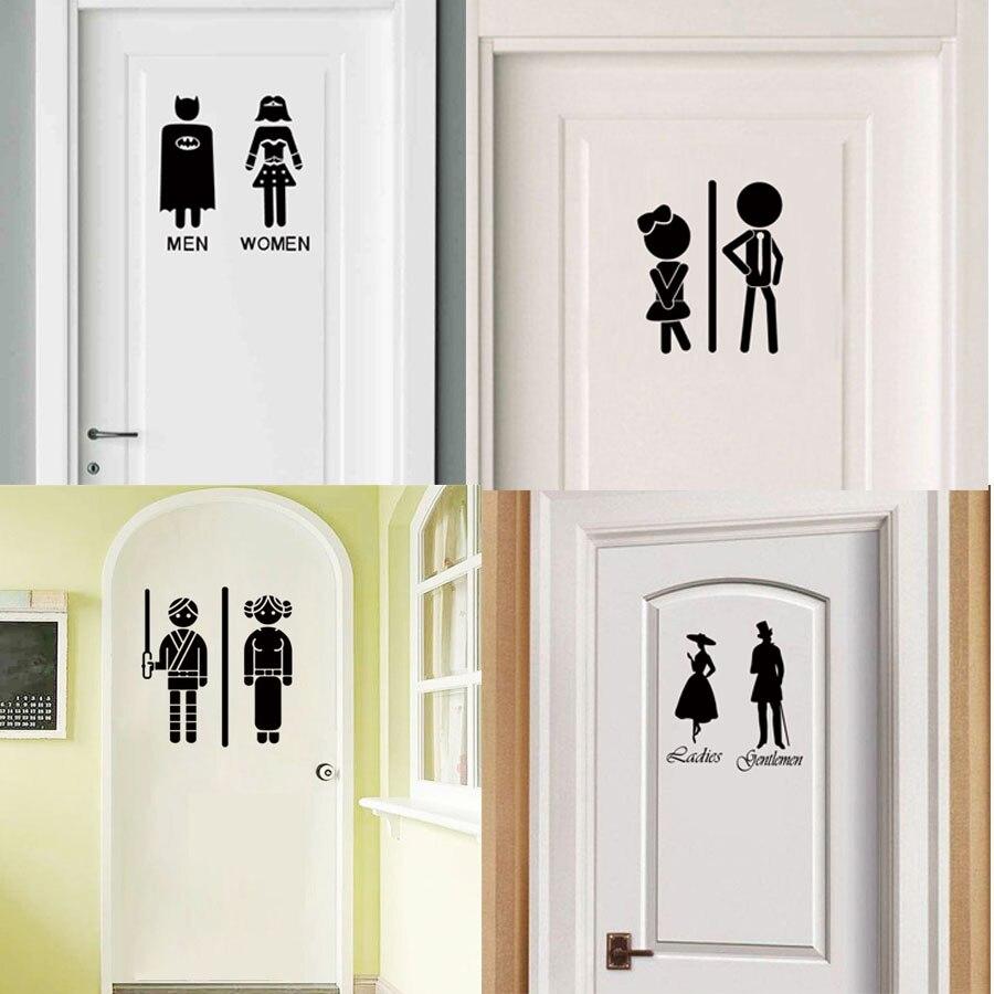 Lady Superhero Door Sticker WC Toilet Bathroom Decoration Wall Art Vinyl Decal Home Design Decor Door Wallpaper Adhesive Murals