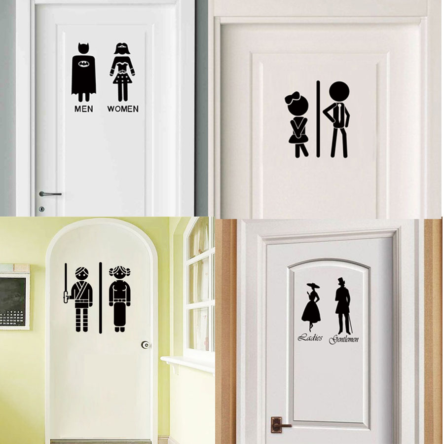 Lady Superhero Door Sticker WC Toilet Bathroom Decoration Wall Art Vinyl Decal Home Design Decor Door Wallpaper Adhesive Murals
