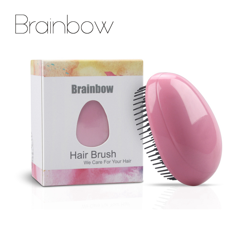 Brainbow 1pc Egg Design Magic Hair Brush Round Portable Plastic Comb Scalp Massage Comb Shampoo Shower Brush Hair Styling Tools