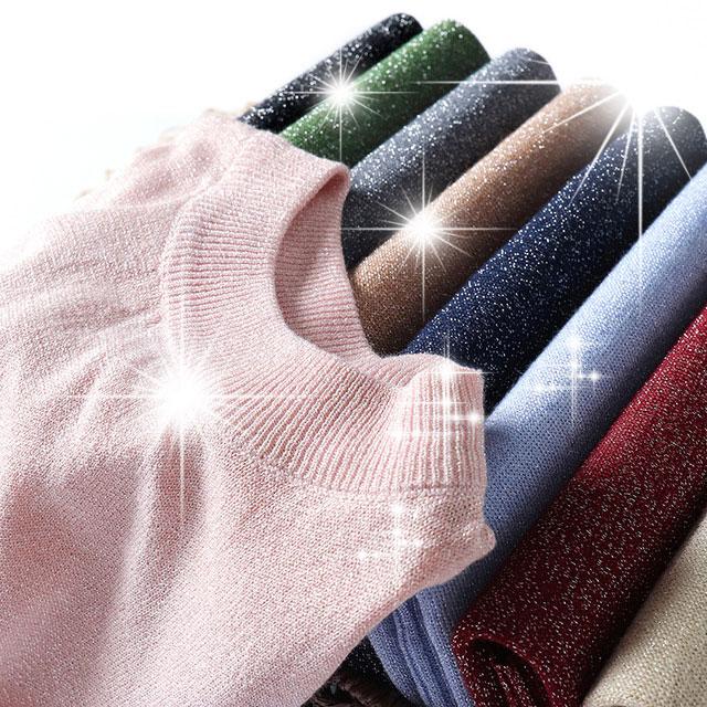 Summer Shiny Lurex Tops Slim  Women Basic T-Shirt Casual O-Neck Solid Tee Shirt Woman Knitted Short Sleeve Sequin T Shirt D300