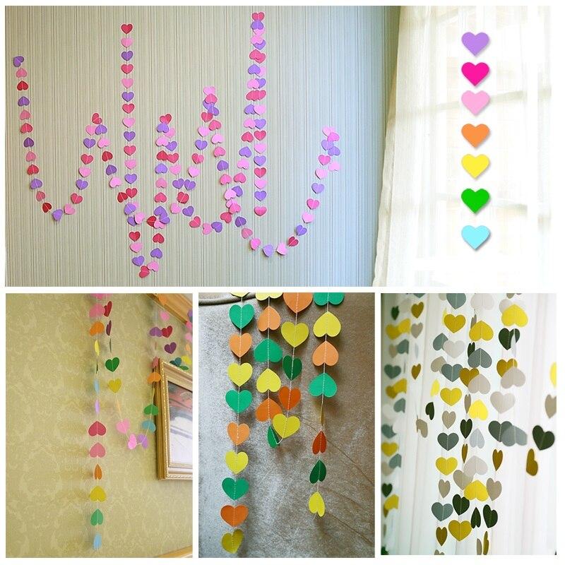 2pcs Carte de inimă colorată 4M Garland Acasă Deor Party Nunta - Produse pentru sărbători și petreceri