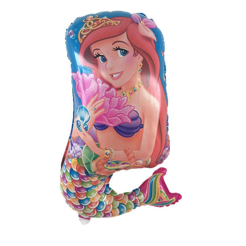 1PC A Pequena Sereia Ariel de princesa dos desenhos animados balão de hélio foil balões decoração globos do aniversário dos miúdos fontes do partido
