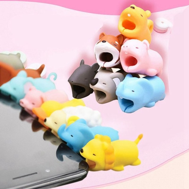 , Cartoon Animals Bite Cable Data Protector Duck Dogs Cats Cute Shark Turtle for Iphone Data Line Protection Phone Accessory