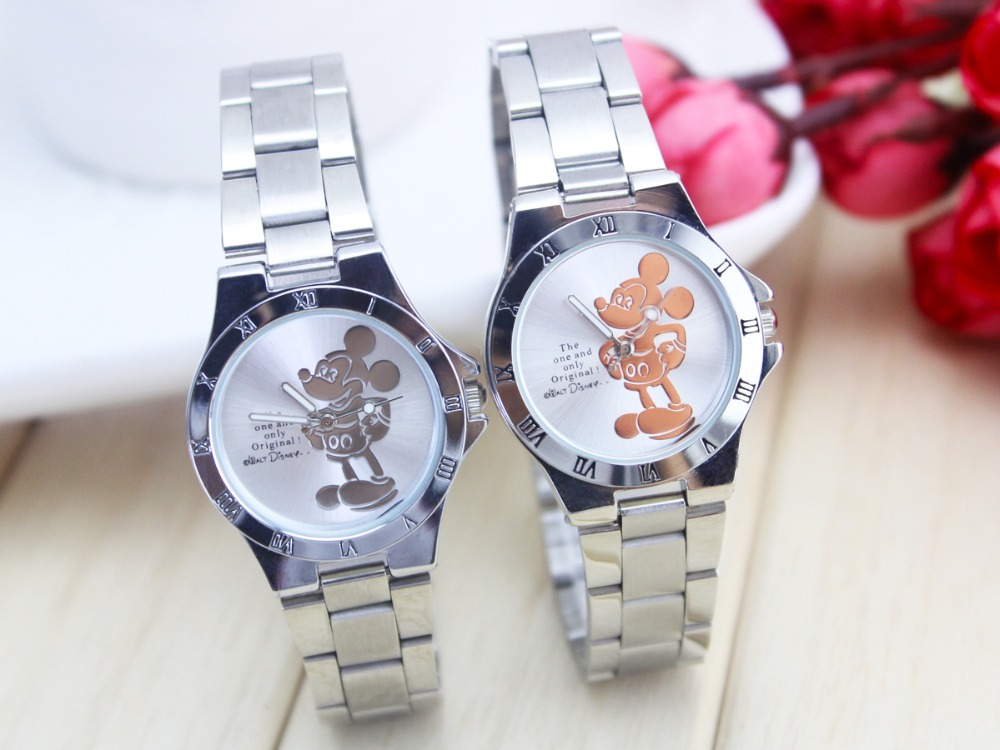 Hot Fashion 2 Colors Mickey Watch Women Full Steel Quartz Ladies Wrist Watches Crystal Fashion Relojes Mujer Girl Student Clock hot unique women watches crystal leather bracelet quartz wrist watch mujer relojes horloge femmes relogio drop shipping f25