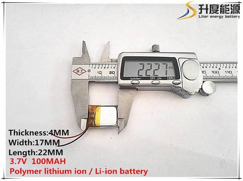 1 Stücke [sd] 3,7 V, 100 Mah, [401722] Polymer Lithium-ion/li-ion Batterie Für Spielzeug, Power Bank, Gps, Mp3, Mp4, Handy, Lautsprecher