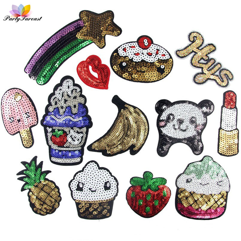 Sequins Patch Food Kids Embroidery Patch Cartoon Patches DIY Clothing Applique Accessories Icecream Bag Badge Stickers TB001