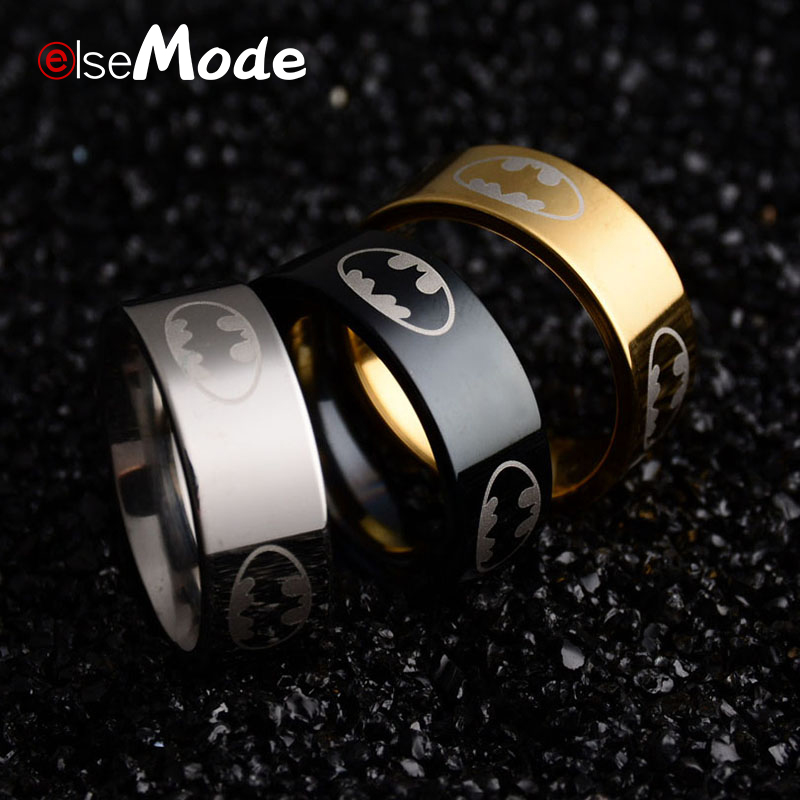 ELSEMODE Rings Jewelry Batman Stainless-Steel Titanium Super-Hero Men Black Boys Women