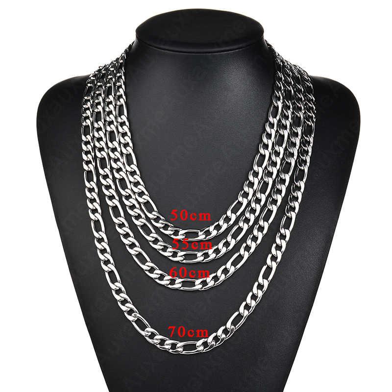 Auxauxme 50-70 collier chaîne Figaro en acier inoxydable pour femmes hommes 3:1 chaîne à maillons cubains collier bijoux Punk couleur ne se décolore jamais