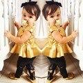2015 Tempo-limitado Real Roupas Minnie Roupas Da Família Do Bebê Terno Menina Vestido de Camisa + Calças Leggings Casuais de Manga Curta 2 Peças