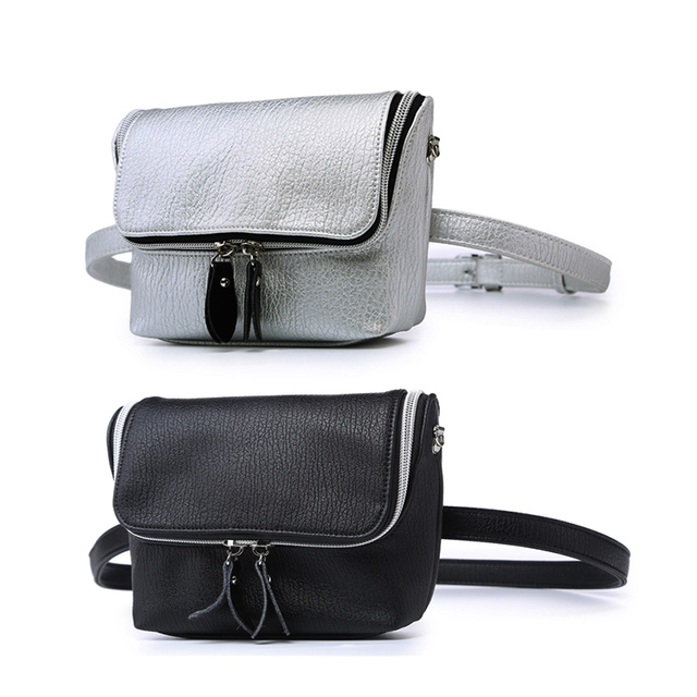 Waist Bag for Women Casual PU Leather Fanny Pack Functional Waterproof Black Belt Bag Hip Bum Money Pouch Girls Crossbody Bag