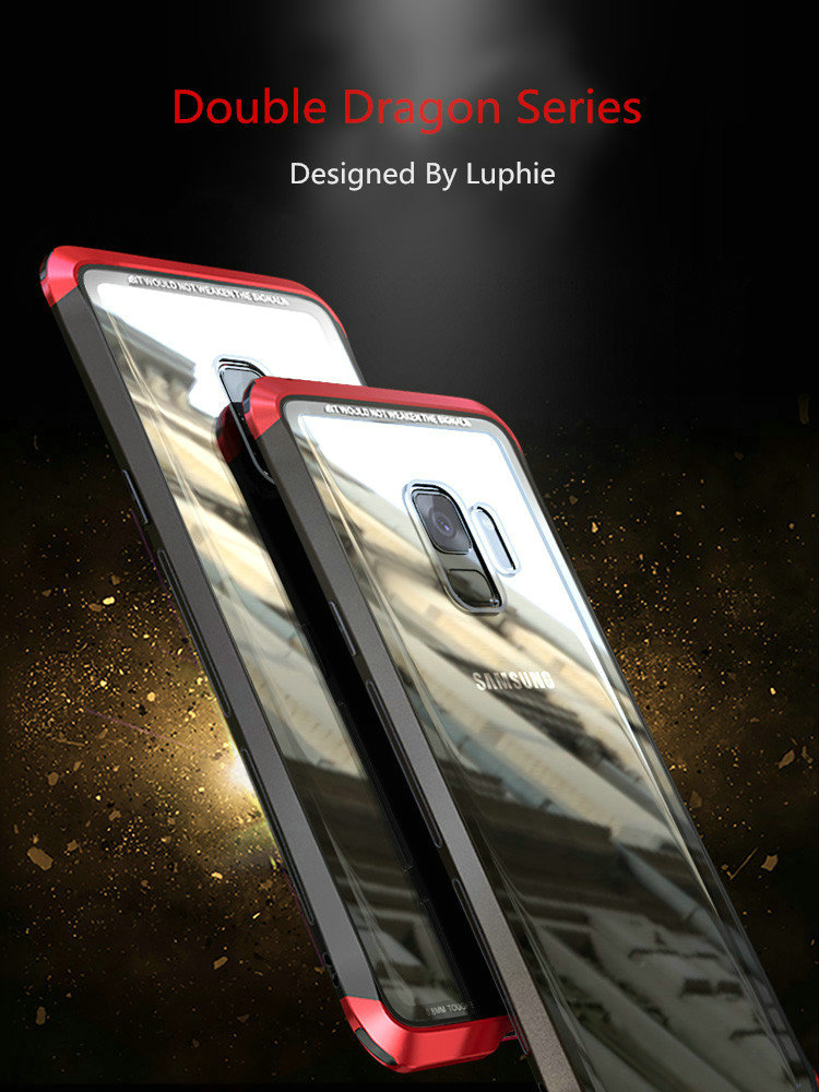 LUPHIE Case For Samsung Galaxy S9 Plus Metal Bumper Clear Tempered Glass Back Cover  (13)