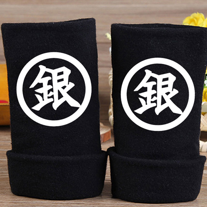 Anime Gintama Silver Soul Gloves Fashion Cotton Knit Wrist Gloves Mitten Lovers Anime Accessories Cosplay Fingerless Warm Gloves in Boys Costume Accessories from Novelty Special Use