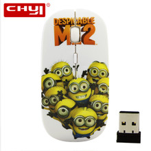 MINI 2 Minions Wireless Optical Mouse with Adjustable DPI 1600 3D Mini Gaming Mause Mice 2.4G USB Receiver for Laptop