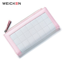 WEICHEN Fashion Zipper Plaid Women Clutch Wallet Phone Card Pocket PU Leather Multifunction Luxury Change Purse Bags Ladies(China)