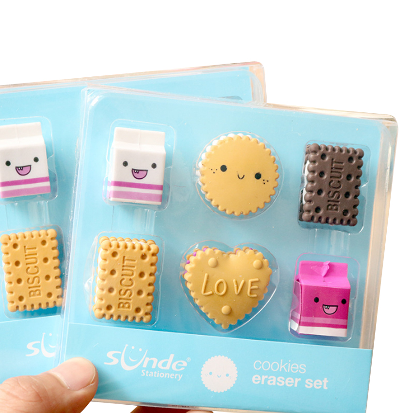 4packs/lot Kawaii Biscuit Milk Rubber Pencil Eraser Students Stationery Kid Gifts School Supplies