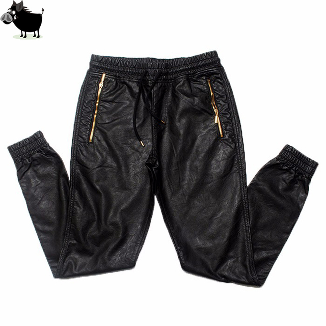 931046bc269 Man Si Tun New Kanye west Hip Hop big and tall Fashion zippers jogers Pant  Joggers dance urban Clothing Mens faux leather Pants