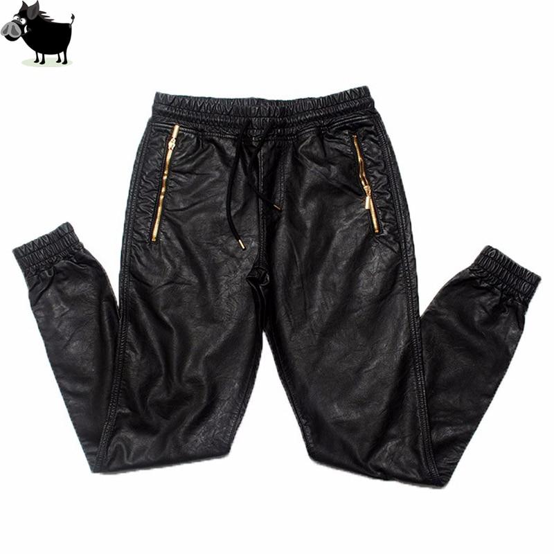 Uomo Si Tun Nuovo Kanye west Hip Hop grande e grosso moda cerniere jogers Pant Jogging danza Abbigliamento urbano Mens faux leather pantaloni