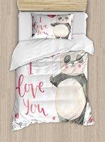 Я люблю тебя Набор пододеяльников для пуховых одеял комплект милый панда держит воздушный шар Валентина он Книги по искусству S акварель Кн