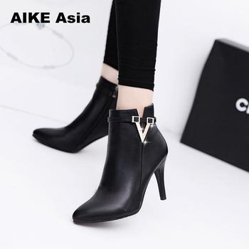 84c6fe8df Best Price 2018 Spring Autumn Stiletto Thin High Heels Pointed Toe Faux Leather  Zipper Style Sexy Ankle Womens Boots Bota Feminina