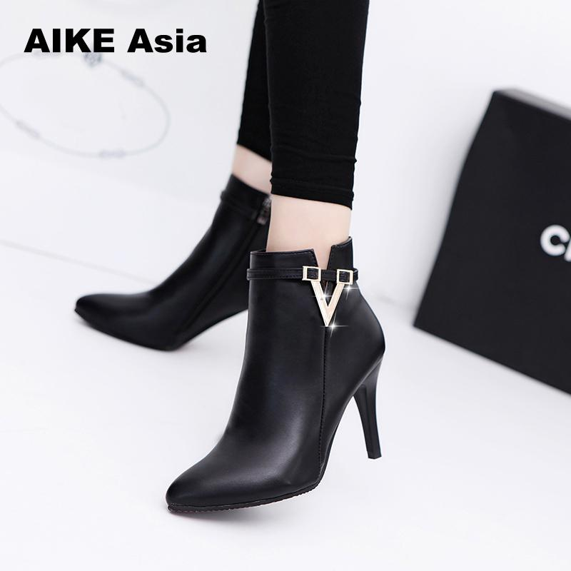 2019 Spring Autumn Stiletto Thin High Heels Pointed Toe Faux Leather Zipper Style Sexy Ankle Womens