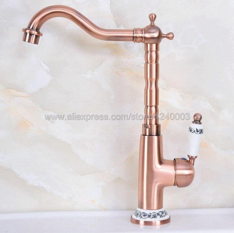 Antique rouge cuivre salle de bains cuisine évier robinet pont mont chaud et froid grue vanité évier mélangeur robinets Knf625