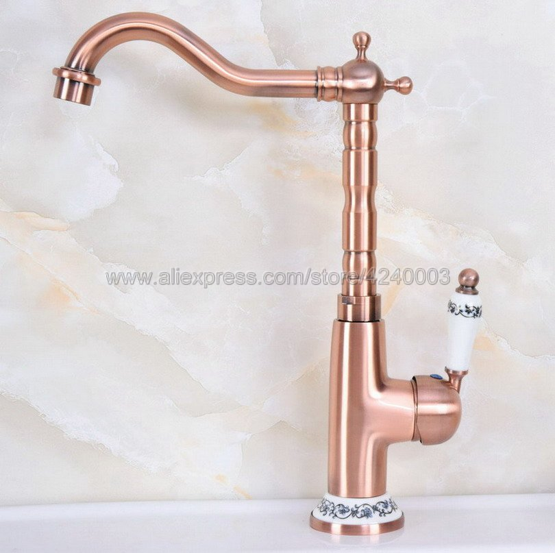 цена на Antique Red Copper Bathroom Kitchen Sink Faucet Deck Mount Hot and cold Crane Vanity Sink Mixer Taps Knf625