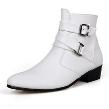British Style Autumn Winter Men Boots 2016 Fashion Pointy Buckle Ankle Boots Casual Genuine Leather Shoes White Black Brown 3A