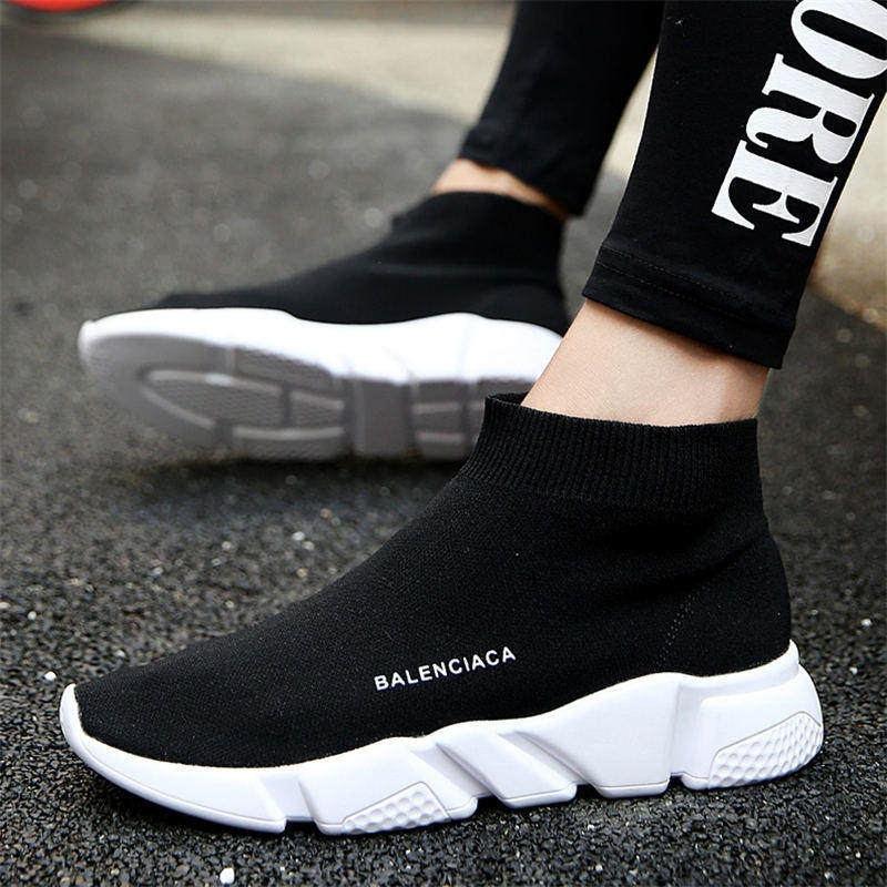 Autumn Women & Men Boots Socks Shoes Unisex Black Casual Sports Shoes Ladies Socks Boots Outdoor Sneakers Woman Walking Shoes gelete stylish men s sports socks black pair