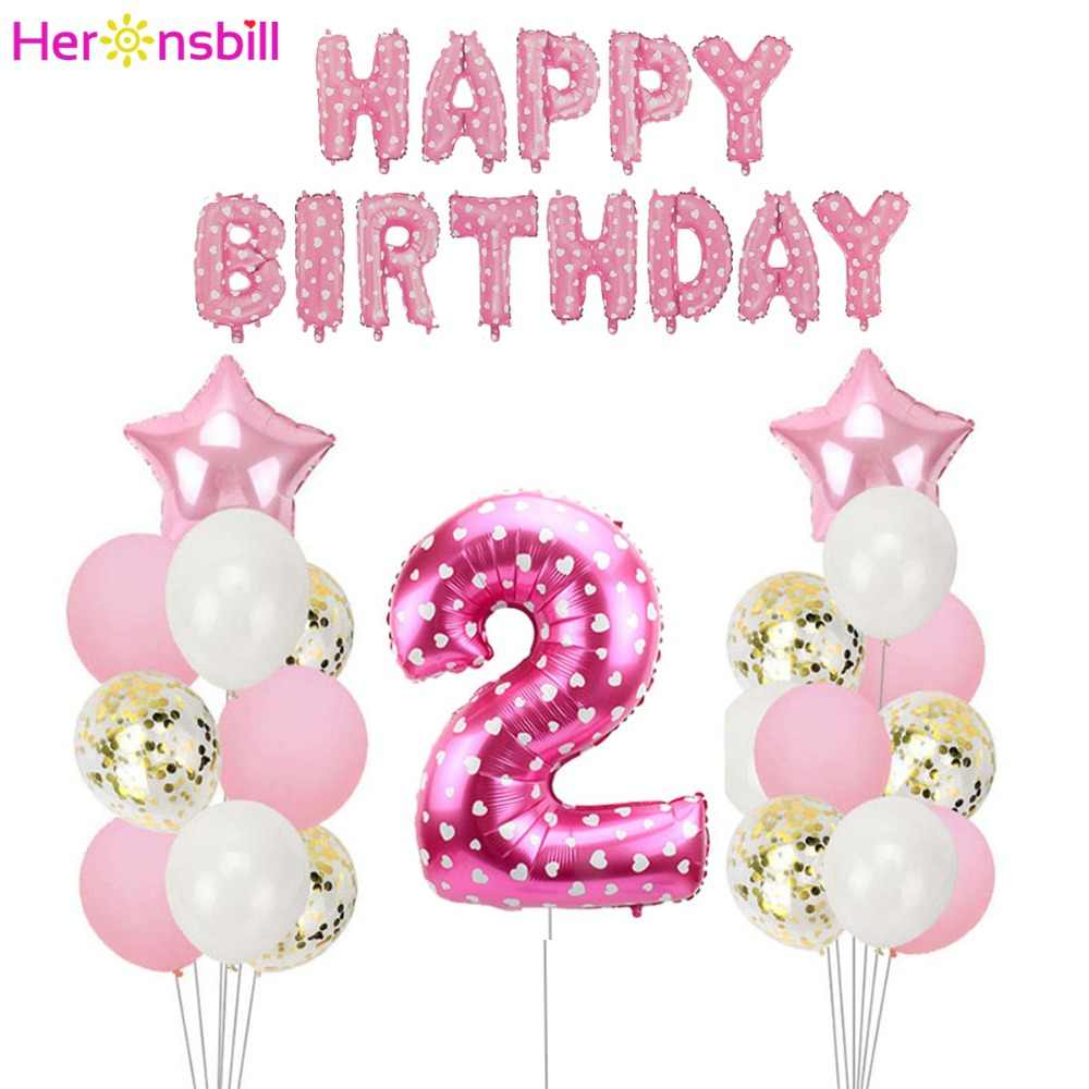 Detail Feedback Questions About Heronsbill Number 2 Foil Balloon Banner 2nd Years Birthday Boy Girl Princess Party Decoration Second Supplies On