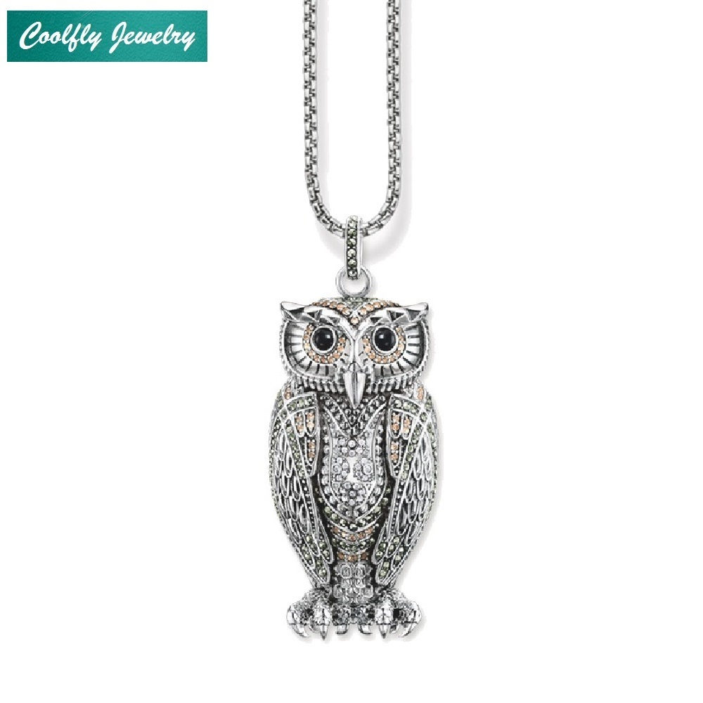 Big Owl Pendant Champagne-coloured Zirconia Link Chain Necklaces Trendy Style Glam Silver Fashion Jewelry For Women Gift Collier цены онлайн