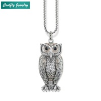 Big Owl Pendant Champagne coloured Zirconia Link Chain Necklaces Trendy Style Glam Silver Fashion Jewelry For Women Gift Collier