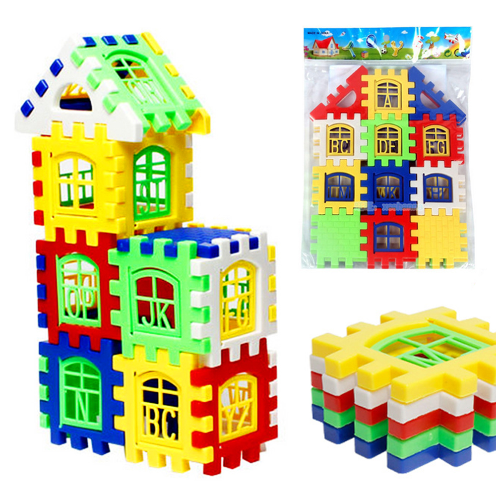 24 PCS set Plastic Small Pieces Kids Learning Blocks for 3 Year Old DIY Shapes Building