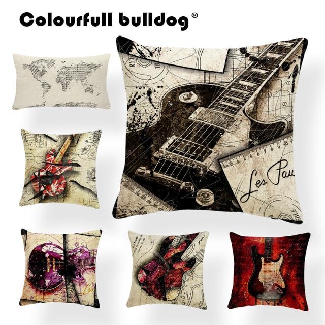 Guitar Cushion Cover Pillow Case World Map Pillow Case Music Score