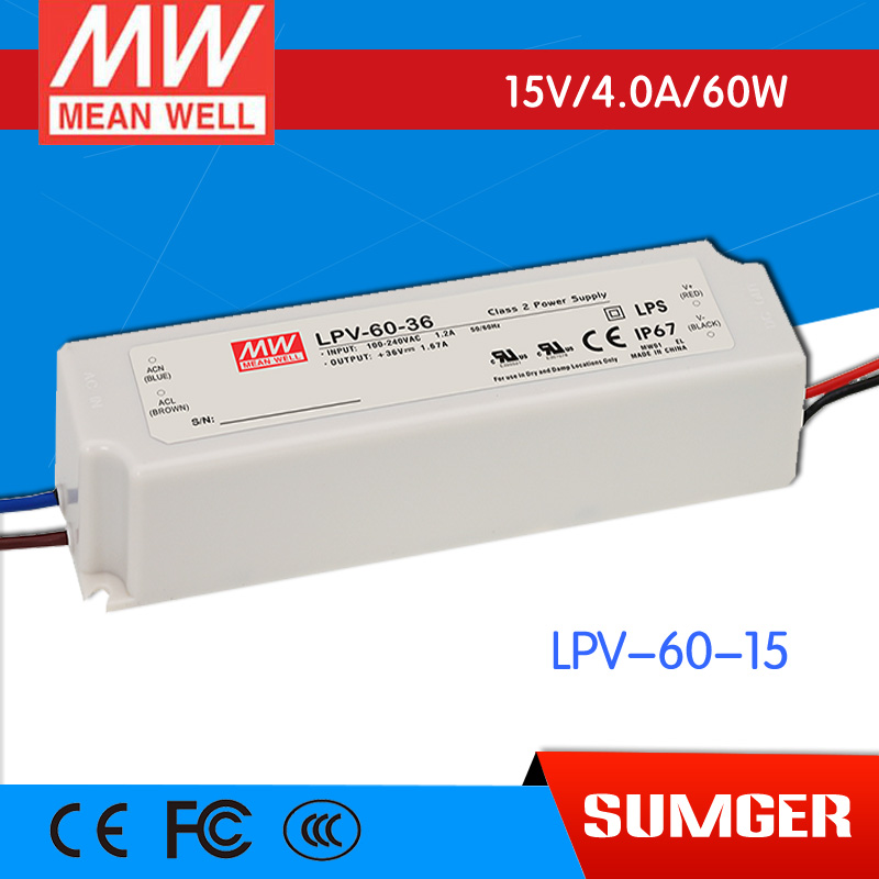 ФОТО [Freeshiping 2Pcs] MEAN WELL original LPV-60-15 15V 4A meanwell LPV-60 15V 60W Single Output LED Switching Power Supply