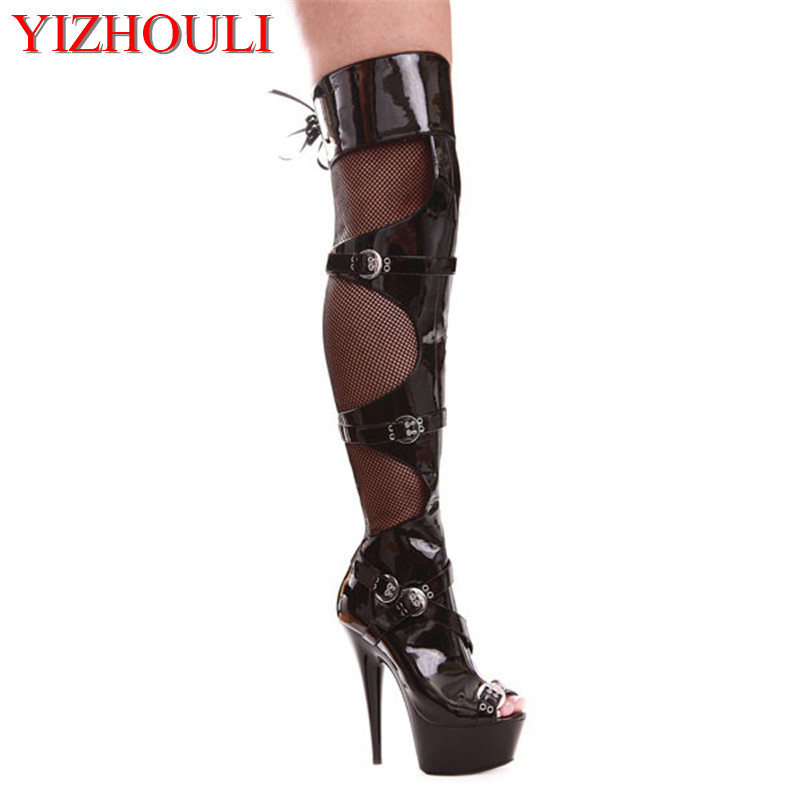 6 Inch Peep Toe High Heels Platforms Thigh High Sexy Boots 15cm Buckle-Strap Over The Knee Boots Sexy Dance Shoes ultra thin heels boots sexy peep toe women s shoes 15cm fashion magazine boots black fetish high heel shoes 6 inch ankle boots