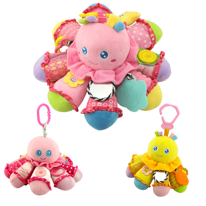 2018 New Baby Plush Animal Monkey Doll Octopus Rattle Crib Hanging Developmental Soft Toys 88 775 ...