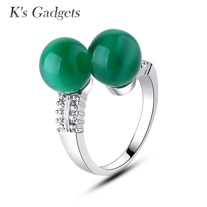 K's Gadgets Opal Stone Silver Color Zircon Ball Ring Jewelry Adjustable Rings For Women Double Round Green Chinese Opal Rings