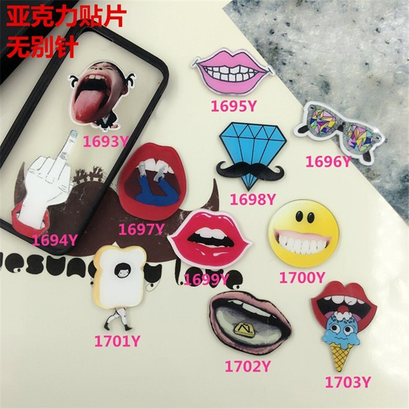 Nice Acrylic Broche lip costumes Badge Accessory for Scarf Pin Up Women Bag Collar Tips Punk XZ82