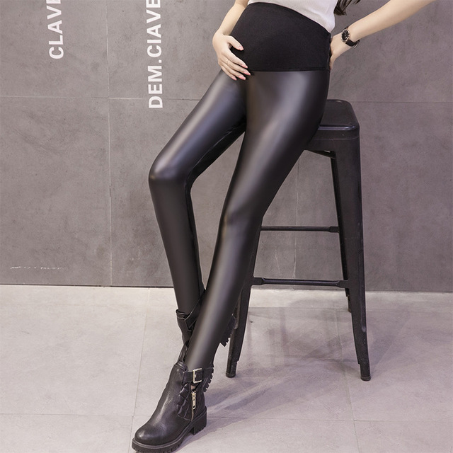 MamaLove Maternity Winter Pants Leather Elastic Waist Pants For Pregnant Women Pregnant Clothing PU Velvet Black Trousers