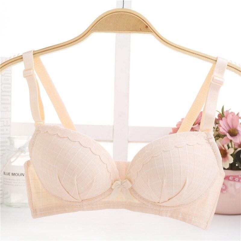 Cute Students Bow Knot Teenage Girl Underwear Plaid Printed Bra Wire Free Women Bras in Bras from Underwear Sleepwears