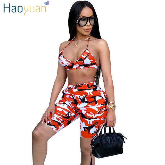 05fdd2142531 HAOYUAN Camo Sexy Two Piece Set Summer Outfits Strapless Crop Top and Shorts  Suits Matching Sets 2pcs Women Camouflage Tracksuit