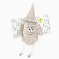 2017 Printemps Automne Nouveau-Né bébé garçon et fille vêtements ensembles sourire visage impression bébé vêtements à manches longues Barboteuse + pantalon + chapeau 3 pcs costume
