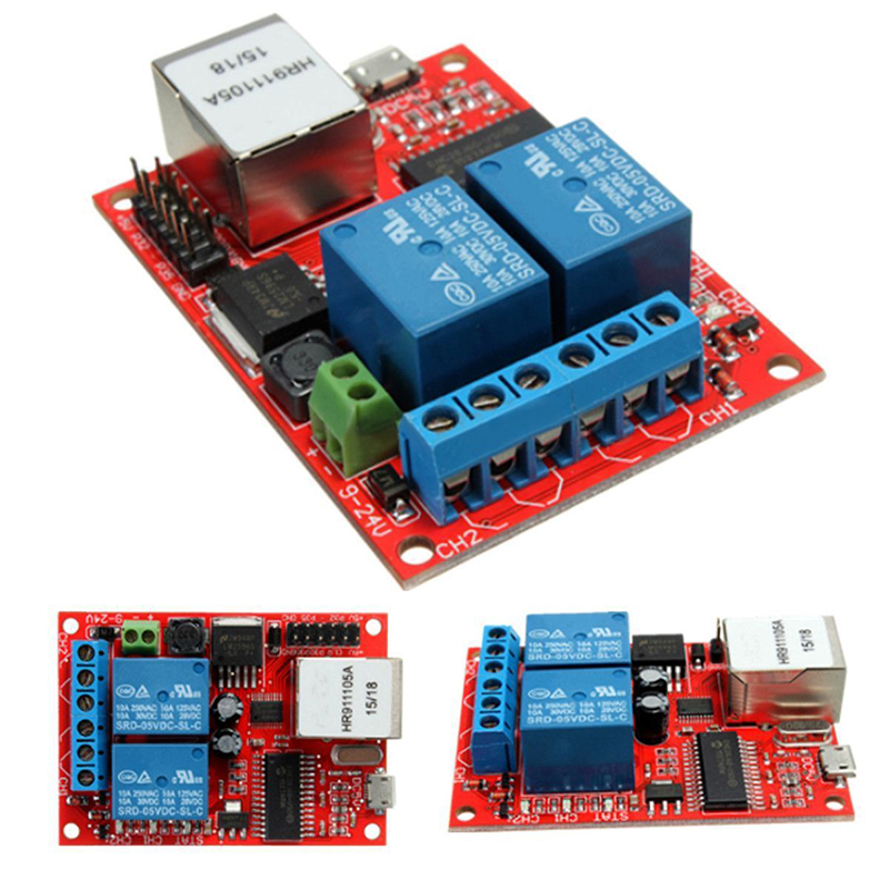 1pc 2-Way Ethernet Delay Relay Module DC5V TCP/UDP Controller Module Network Switch WEB Server stair light delay timer controller relay normally open contact adjustable wifi wireless switch relay delay module 4 way control