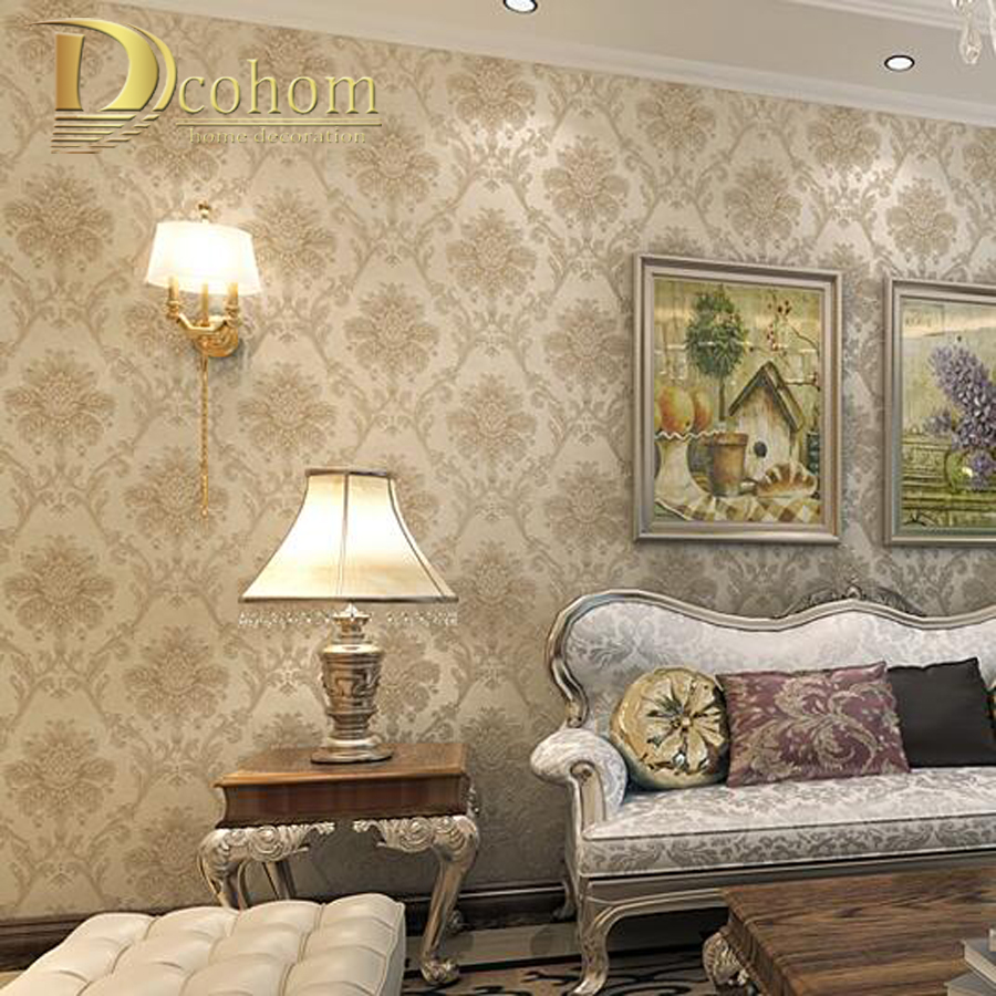 Vintage luxury european khaki brown beige damask wallpaper for Living room paper