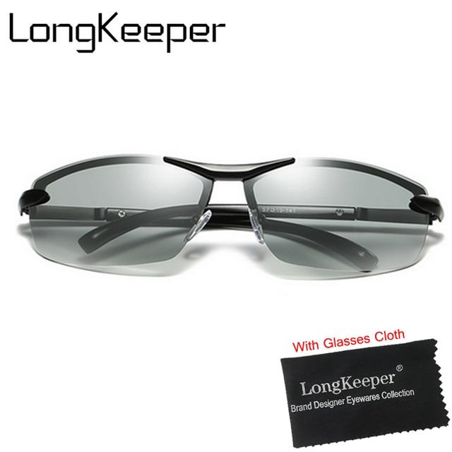 Longkeeper Merek Photochromic Polarized Kaca Mata Pria Mengemudi Anti Silau  Kacamata HD Mengubah Warna Lensa Berjemur 56bc4aa3be