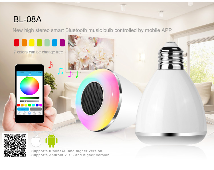 Bluetooth Wireless LED Smart Light Bulb Speaker for Samsung Android Iphone 5 6
