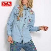2018 Fashion Autumn Women Embroidery Denim Blouse Shirt Lapel Long Sleeve Tops Plus Size Brand blusas Boyfriend Casual Roupas
