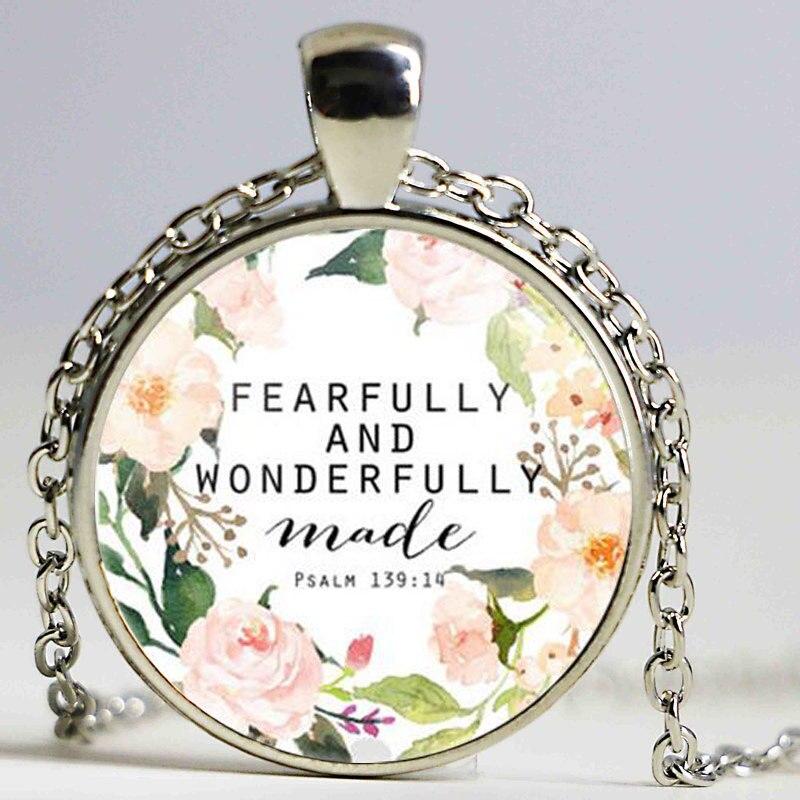 Псалом 139 14 испуганно и чудесно сделаны Цитата Стих Библии Цепочки и ожерелья Кабошон Шарм Подвеска Цепочки и ожерелья для Для женщин Для му...